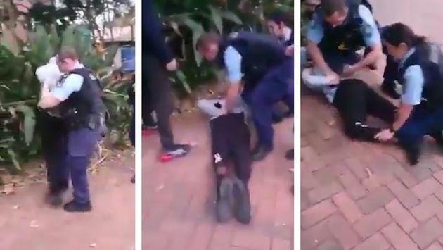 La vidéo d'un policier blanc en train d'utiliser la force pour faire tomber un adolescent aborigène ont...