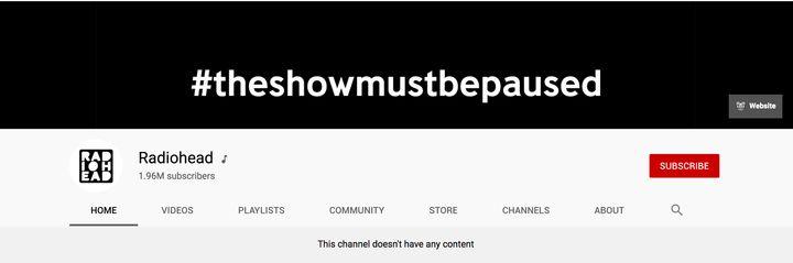 Perfil de Radiohead en YouTube el 2 de junio.