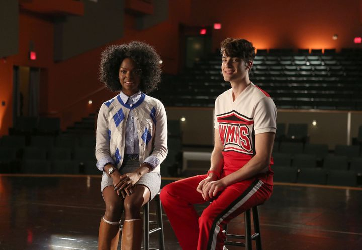 "Samantha Marie Ware and Billy Lewis Jr. on a 2015 episode of ""Glee."""