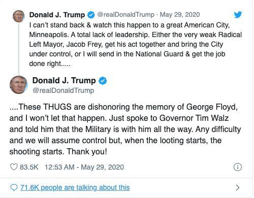 Twitter a déterminé que ce tweet de Donald Trump a enfreint les Règles de Twitter relatives à la glorification de la violence.