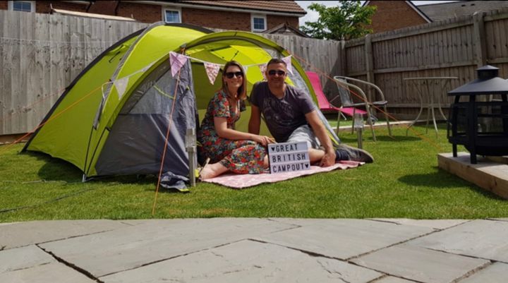 Amy camping, for the first time, in her garden, raising money for the NHS