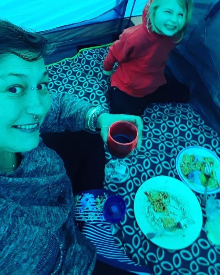 Kiera and Noah on one of their annual camping trips