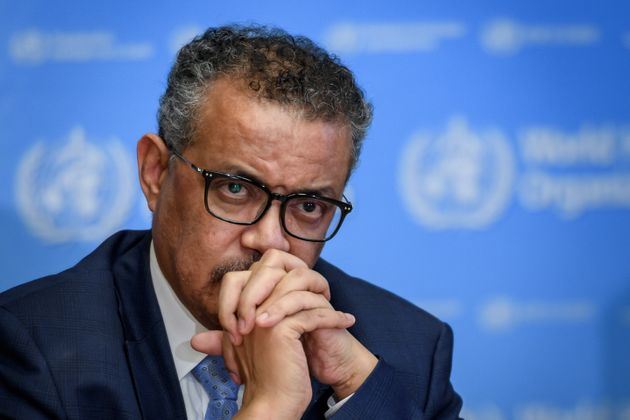 Tedros Adhanom Ghebreyesus, the WHO's director-general, attends a COVID-19 news conference in Geneva...
