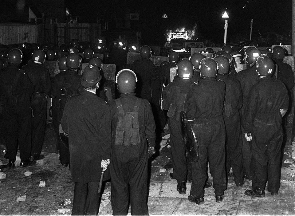 Police in riot gear during the Broadwater Farm