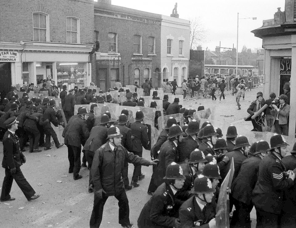 A riot in Brixton on April 12,