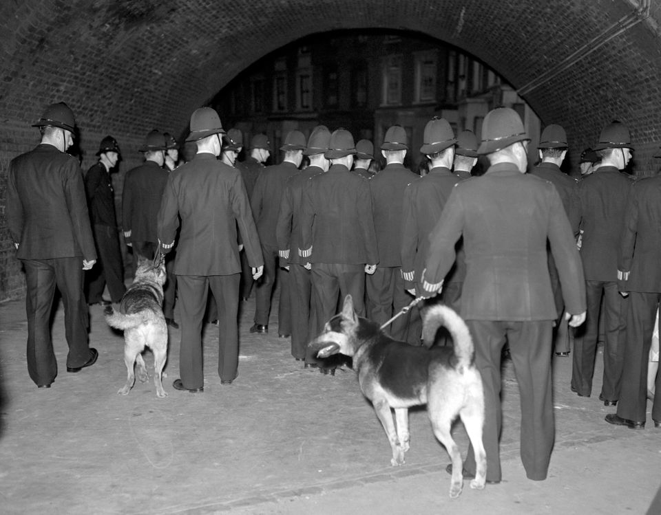 Police officers with dogs at a street in Notting Hill during riots in Notting Hlil,