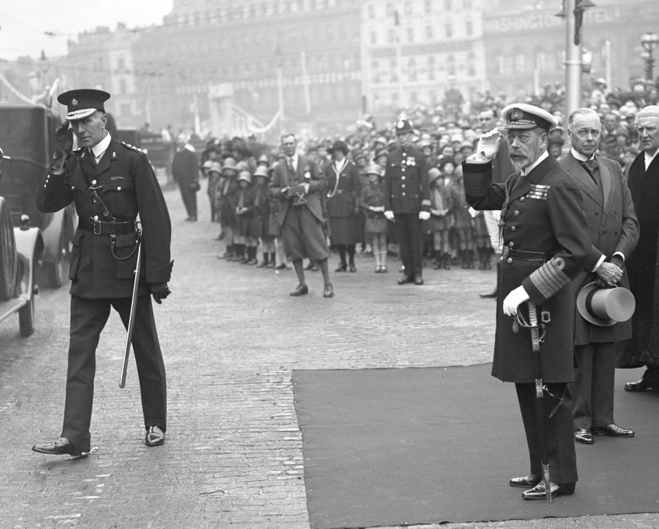 King George V opens the Gladstone Dock at Liverpool in 1913. Liverpool was a major slave trading port....