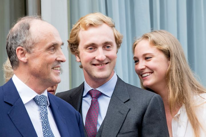 Prince Lorenz with two of his children -- Prince Joachim and Princess Luise Maria of Belgium -- attend the 80th birthday cele