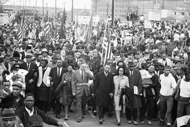 Martin Luther King Jr. with his wife, Coretta, during the Selma-to-Montgomery marches in Alabama in