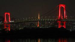도쿄가 '도쿄 경보'를 발령하면서 레인보우 브릿지의 색깔이