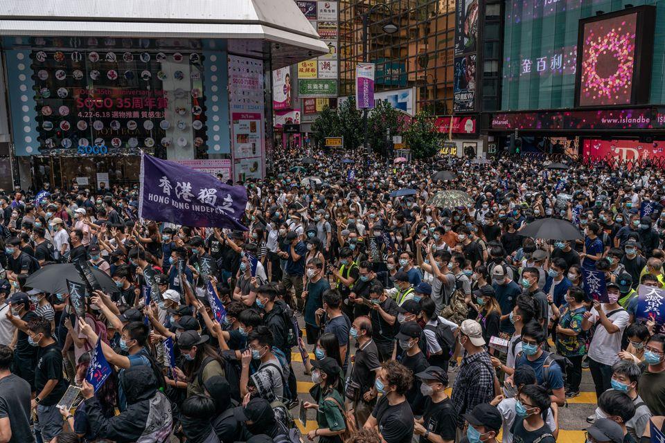 홍콩 국가보안법의 중국 전인대 표결을 나흘 앞둔 5월 24일, 홍콩 시내 반대 집회에 모인