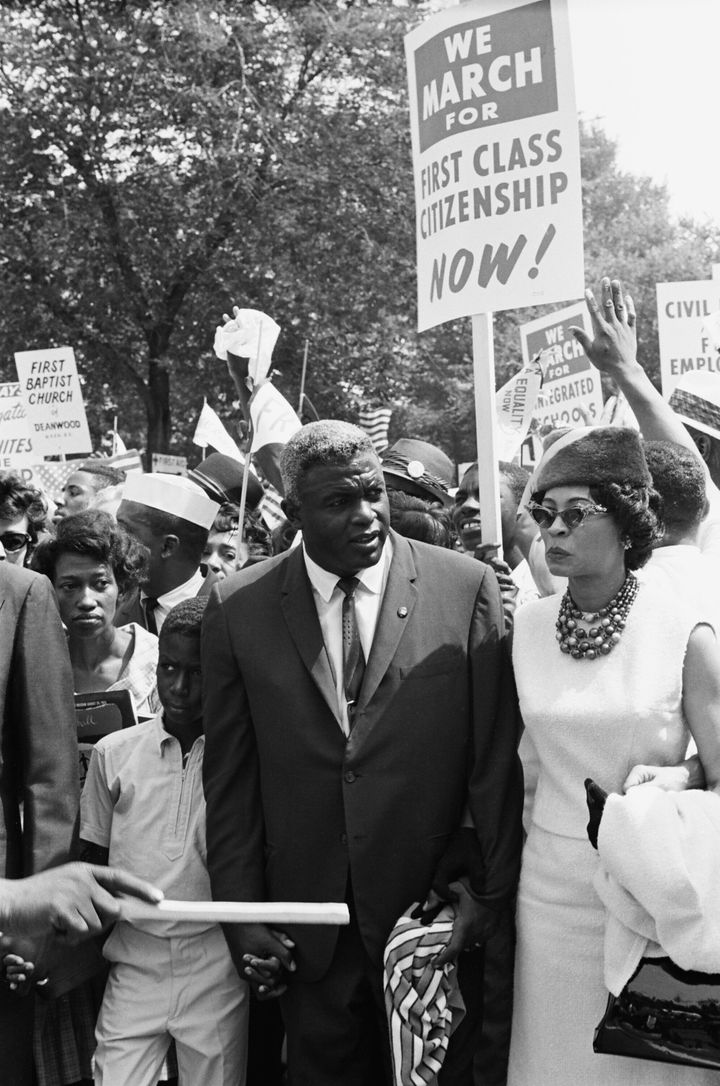 Jackie Robinson marches in Washington during the 1960s.