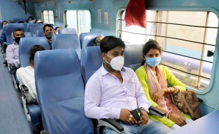Travellers on board a Patna-Kolkata train at Patna Junction on June 1, 2020.