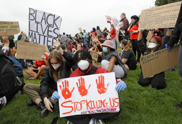Socially-Distanced Black Lives Matter Protest Gathers In Hyde Park