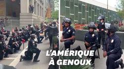 Genou à terre, certains policiers américains montrent leur soutien aux