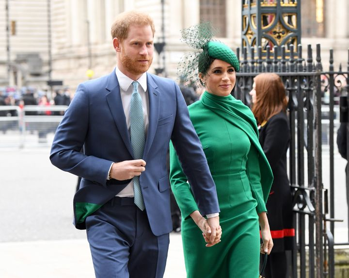 The Duke and Duchess of Sussex attend the Commonwealth Day Service on March 9 in London.