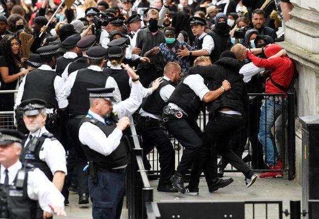 Anti-Racist Protests Grow Outside Downing Street As Boris Johnson Holds Coronavirus Press Briefing
