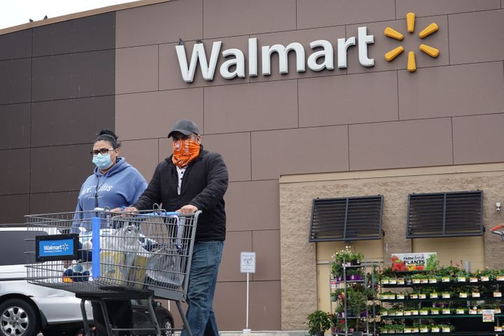 Customers shop at a Walmart store in Chicago during the coronavirus pandemic.