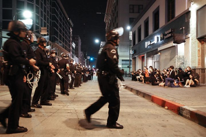 Protestors are arrested after curfew went into effect during mostly peaceful demonstrations over George Floyd's death downtown on June 2, 2020 in Los Angeles, California.