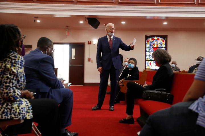 Former Vice President Joe Biden speaks to members of the clergy and community leaders at Bethel AME Church in Wilmington, Del