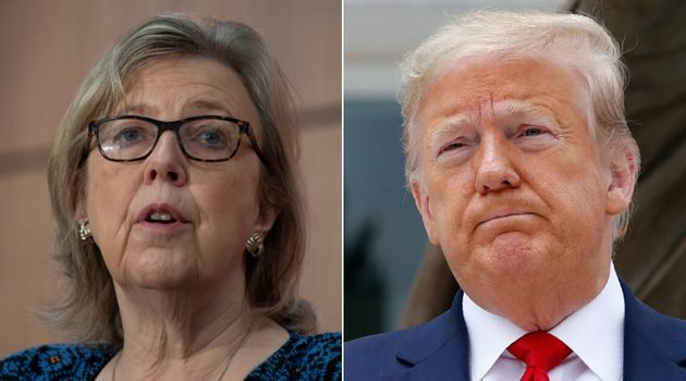 Green Party parliamentary leader Elizabeth May and U.S. President Donald Trump are shown in a composite...