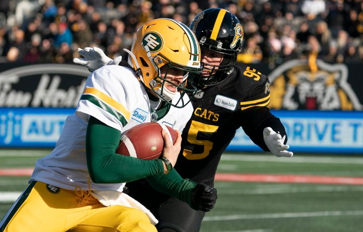 Quarterback Trevor Harris, seen here at a 2019 game with the Hamilton Tiger Cats, is part of the Edmonton-based Canadian Football League (CFL) team that's been long-criticized over its insensitive name.