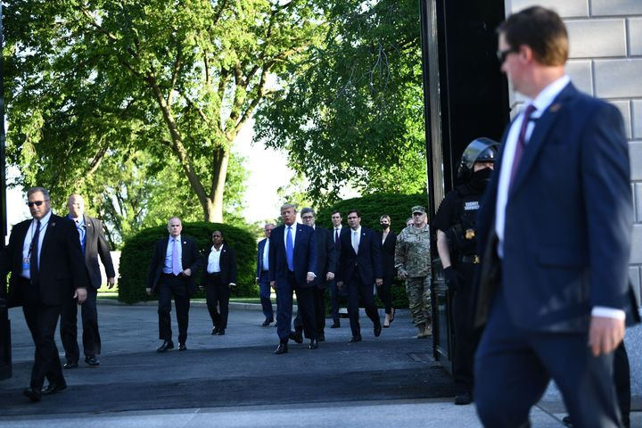 President Donald Trump leaves the White House to walk to St. John's Episcopal Church, across Lafayette Park from the White Ho