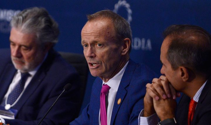 Stockwell Day speaks on stage during a high-level Summit on the Americas on May 12, 2016 in Miami.
