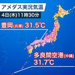 兵庫・富山、30℃超えの暑さ 大阪も真夏日の予想