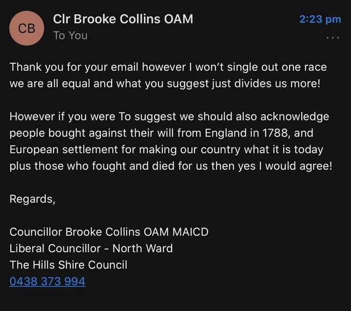 Councillor Collins' reply was shared, with permission, to HuffPost.