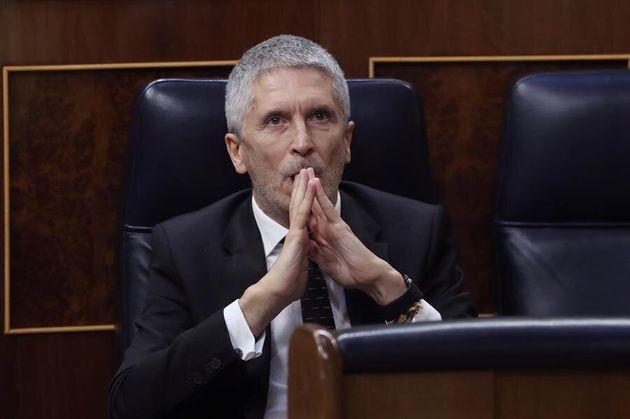 El ministro del Interior, Fernando Grande-Marlaska, durante el pleno del Congreso este