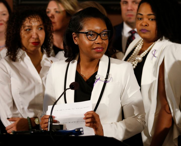 Ohio House minority leader Emilia Sykes, pictured here in March 2019, is among a group of Democrats in the state who proposed
