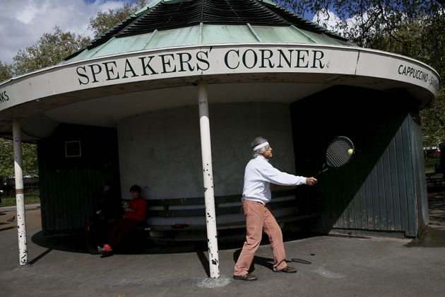 A man uses a tennis racket at Speakers' Corner in Hyde Park, London, Britain May 3, 2015. At Speakers'...