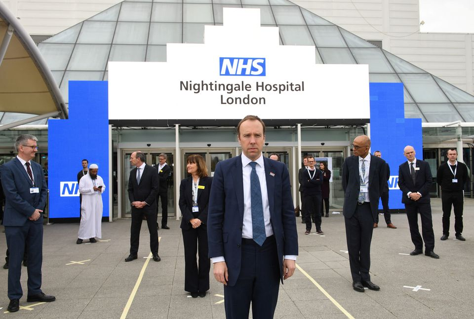 Health secretary Matt Hancock and NHS staff at the opening of the NHS Nightingale hospital in