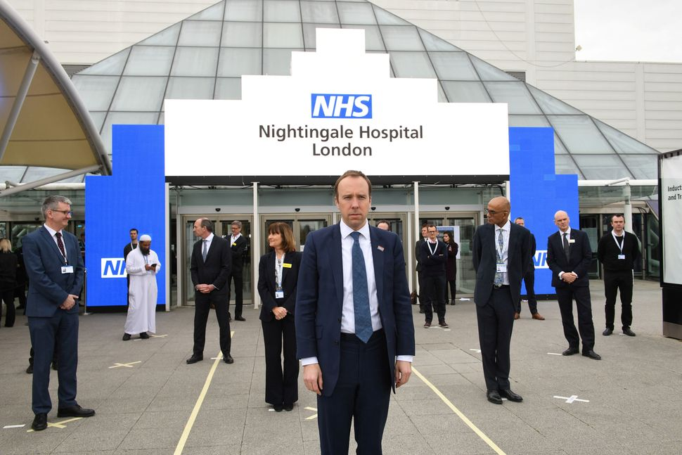 Health Secretary Matt Hancock at the opening of the NHS Nightingale Hospital at the ExCel centre in London in April