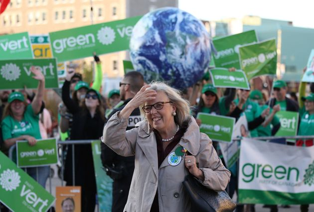 Elizabeth May is seen here in Gatineau, Que., on Oct. 10, 2019, while arriving for the federal leaders...