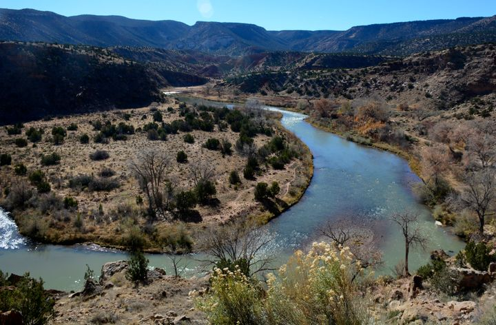 The Rio Chama originates in Colorado and feeds into the Rio Grande in New Mexico. New Mexico allows landowners to stake a claim to streambeds on their property, controlling access to the water that flows over them.