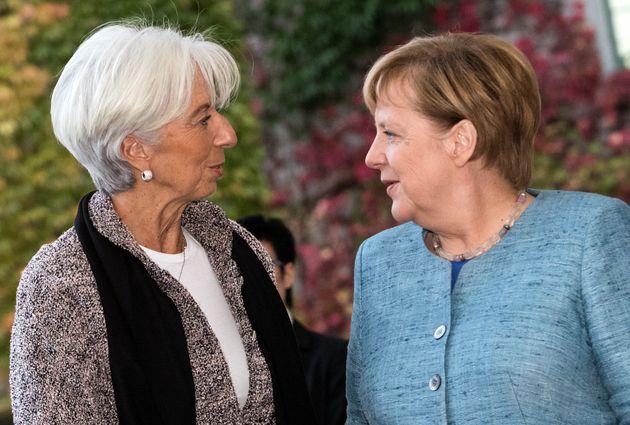 30 October 2018, Berlin: Federal Chancellor Angela Merkel (CDU) receives Christine Lagarde, Executive...