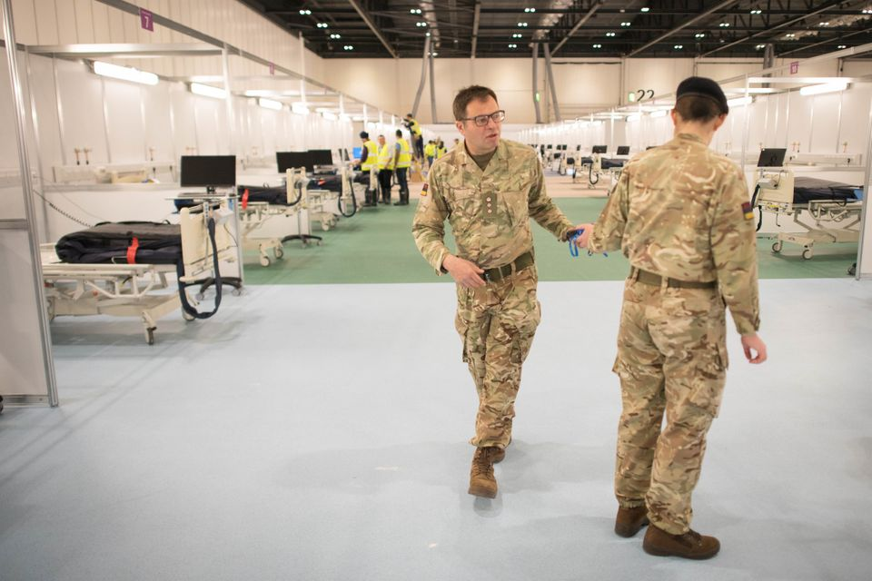 Military personnel, pictured at the ExCel centre in London, also worked on the Nightingale