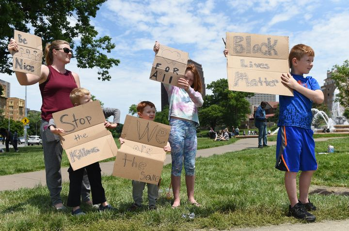 Terri Rose took her children to protests in the Kansas City area on May 31.