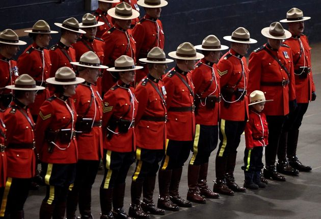 RCMP officers at a change of command ceremony in Vancouver, on Feb. 11,