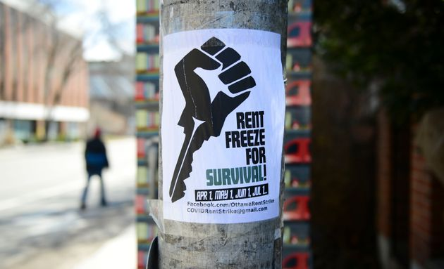 A rent freeze poster is shown in Ottawa during the COVID-19 pandemic on March 31, 2020. Months later,...