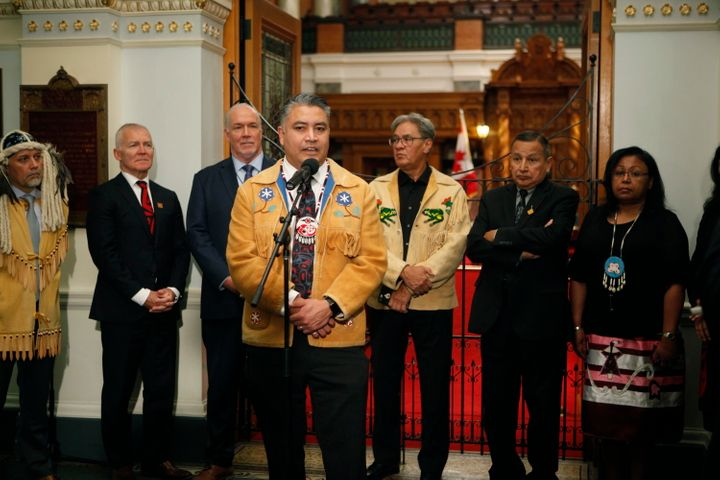 Regional Chief Terry Teegee speaks to the press in Victoria, on Oct. 24, 2019.