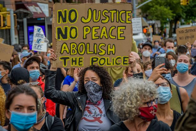 One of Tuesday's protests in New York