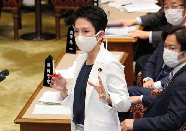 参院予算委員会で質問する立憲民主党の蓮舫副代表=2020年4月29日、岩下毅撮影