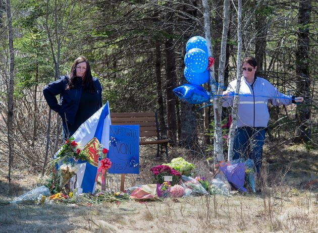 A memorial pays tribute to health-care worker Heather O'Brien along the highway in Debert, N.S. on April...