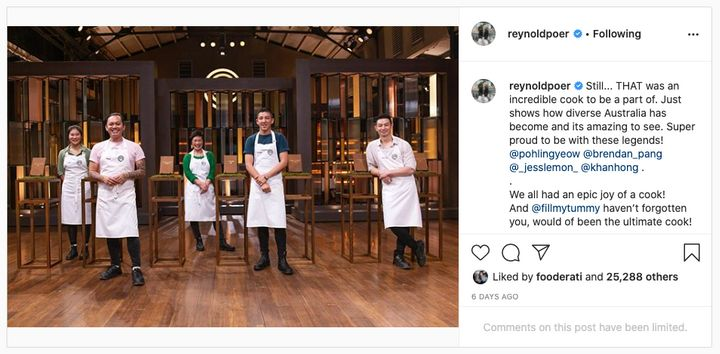 'MasterChef Australia: Back To Win's Reynold Poernomo has limited comments on Instagram