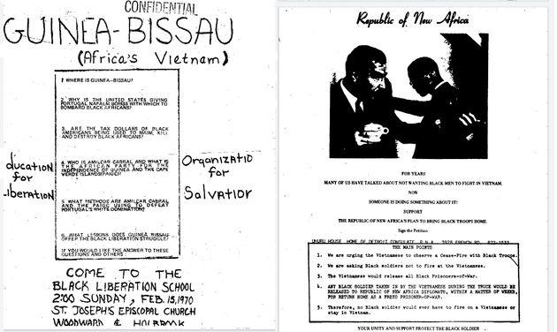 Αφίσες της οργάνωσης ενάντια στους πολέμους στο Βιετνάμ και τη Γουινέα