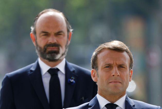 Emmanuel Macron et Édouard Philippe lors des commémorations du 8 mai à