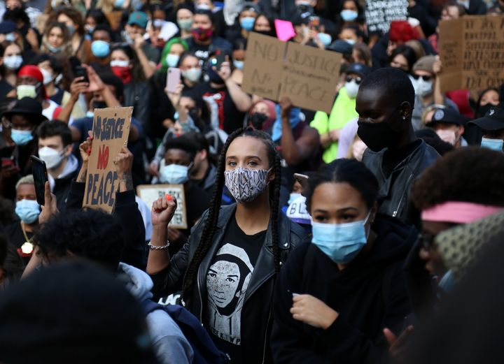 A protest against racism and police brutality on May 31, 2020 in Vancouver.